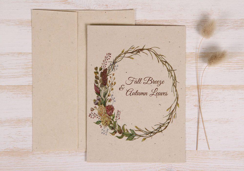 Plantable Autumn Card - Natural Wreath - Front