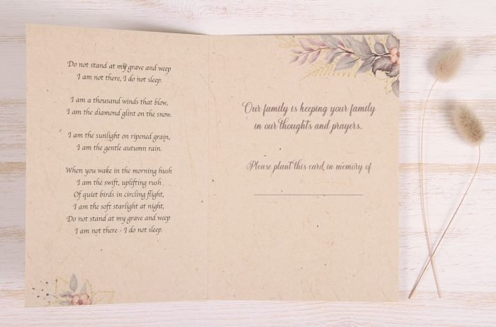 Plantable Condolence Card - Lavender Leaves - Inside