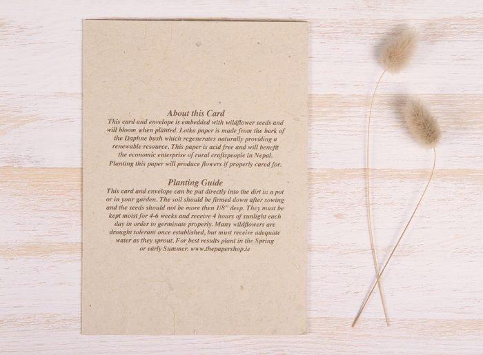Plantable Condolence Card - Nature - Back