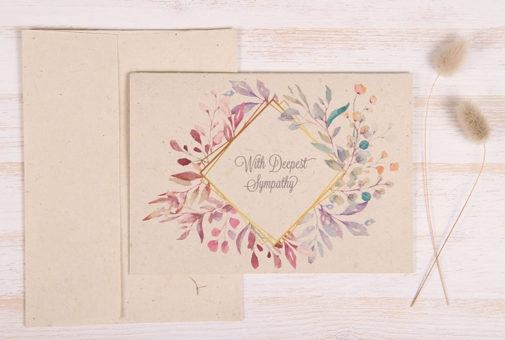 Plantable Condolence Card - Pastel Leaves - Front
