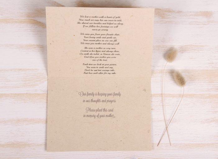 Plantable Condolence Card - Pastel Leaves - Inside
