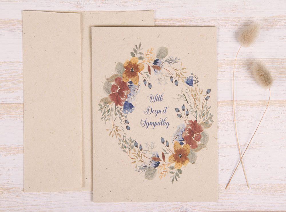Plantable Condolence Card - Rustic Wreath - Front