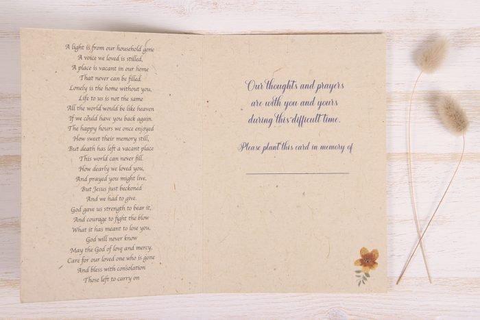 Plantable Condolence Card - Rustic Wreath - Inside