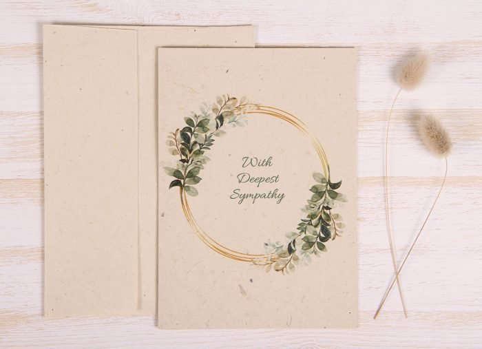 Plantable Condolence Card for Father - Gold & Leaves - Front