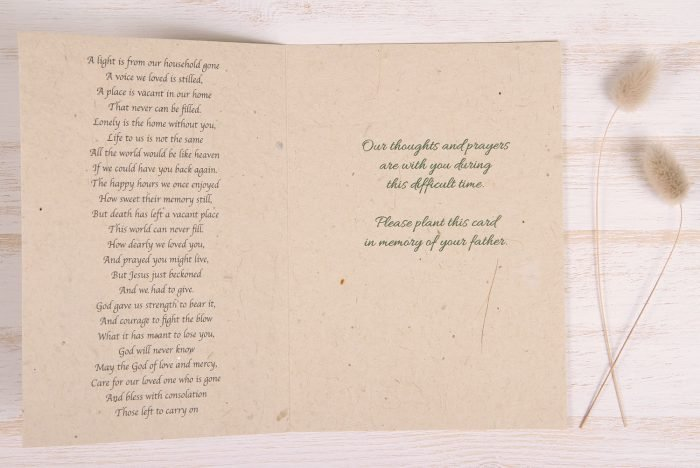 Plantable Condolence Card for Father - Gold & Leaves - Inside