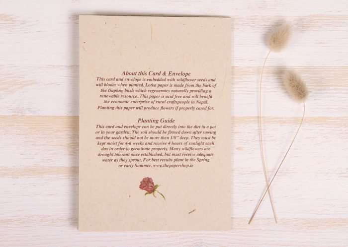 Plantable Condolence Card for Father - Natural Wreath - Back