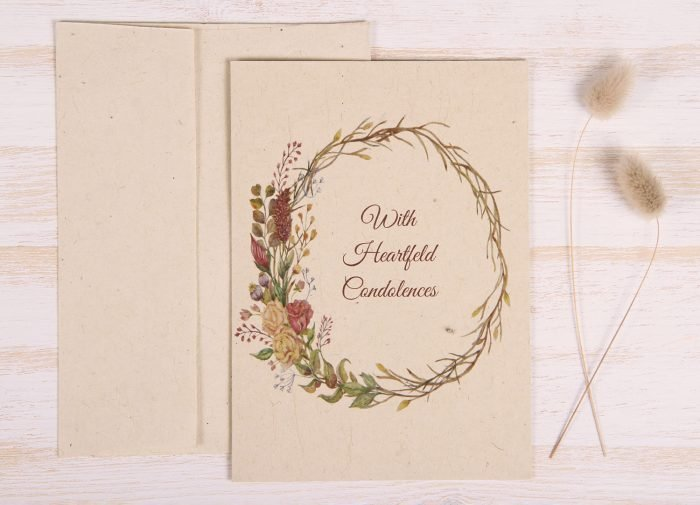 Plantable Condolence Card for Father - Natural Wreath - Front