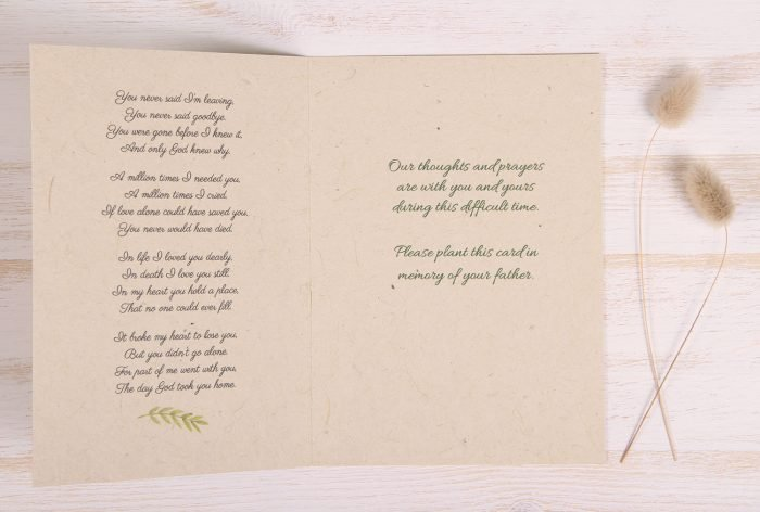 Plantable Condolence Card for Father - Nature - Inside