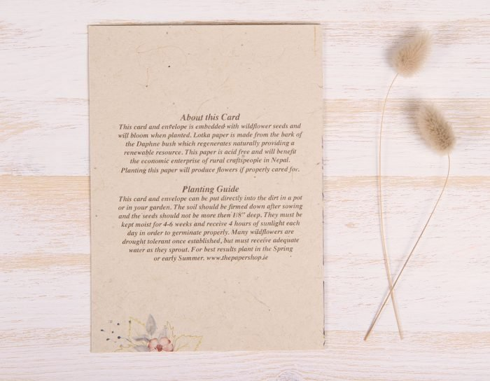 Plantable Condolence Card for Mother - Lavender Leaves - Back