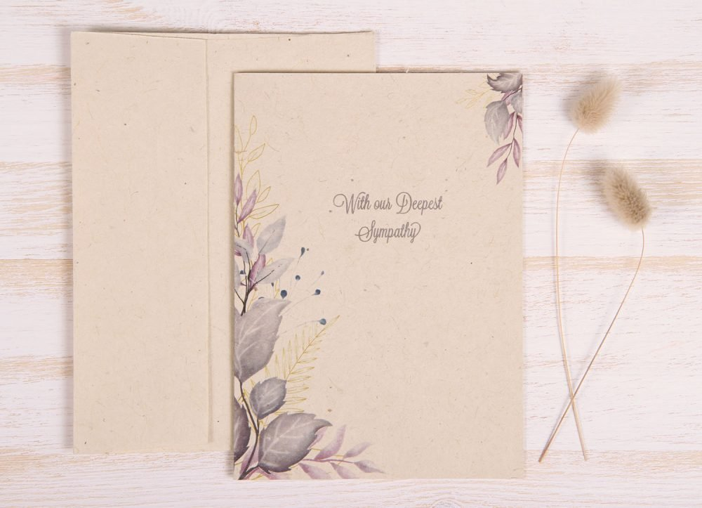 Plantable Condolence Card for Mother - Lavender Leaves - Front