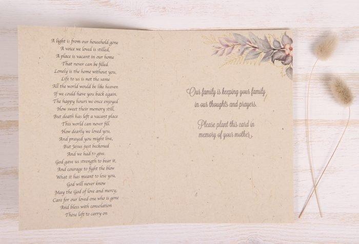 Plantable Condolence Card for Mother - Lavender Leaves - Inside