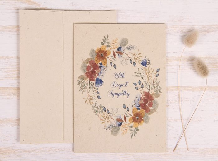 Plantable Condolence Card for Mother - Rustic Wreath - Front