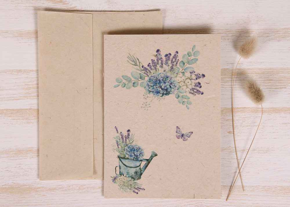 Plantable Greeting Card - Any Occasion - Lavender - Hydrangea - Front