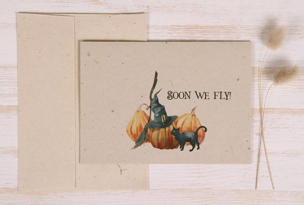 Plantable Halloween Card - Witch Broom - Front