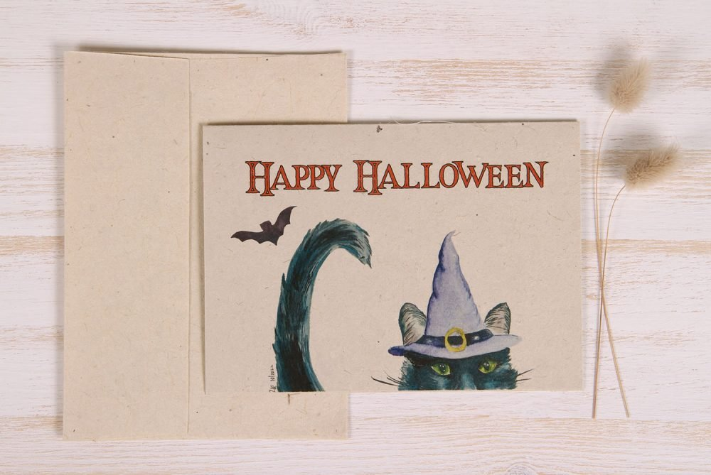 Plantable Halloween Card - Witch Cat - Front