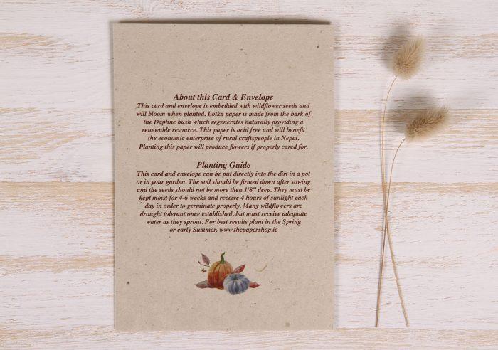 Plantable Halloween Card - Wreath - Back