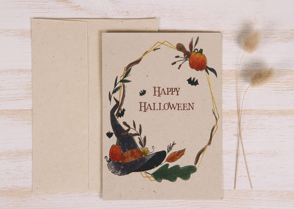 Plantable Halloween Card - Wreath - Front