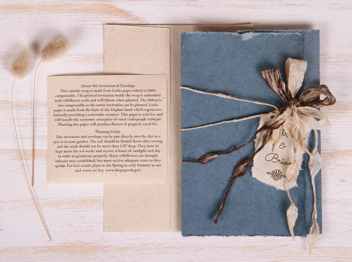 Plantable Invitation - Lotka Wrap - Bow Tie - Blue