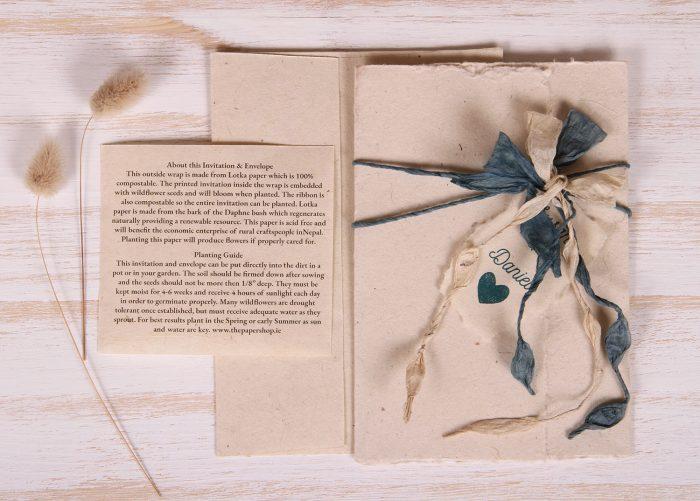 Plantable Invitation - Lotka Wrap - Bow Tie - Natural