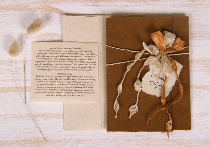 Plantable Invitation - Lotka Wrap - Bow Tie - Russet