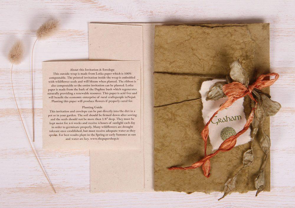 Plantable Invitation - Lotka Wrap - Bow Tie - Sage
