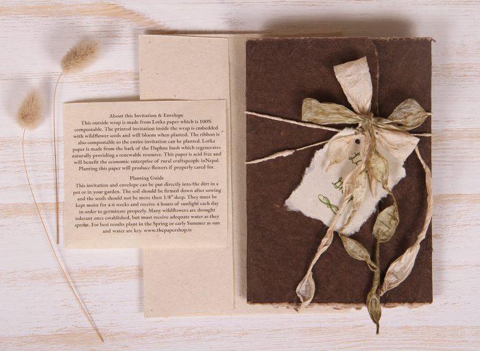 Plantable Invitation - Lotka Wrap - Bow Tie - Umber