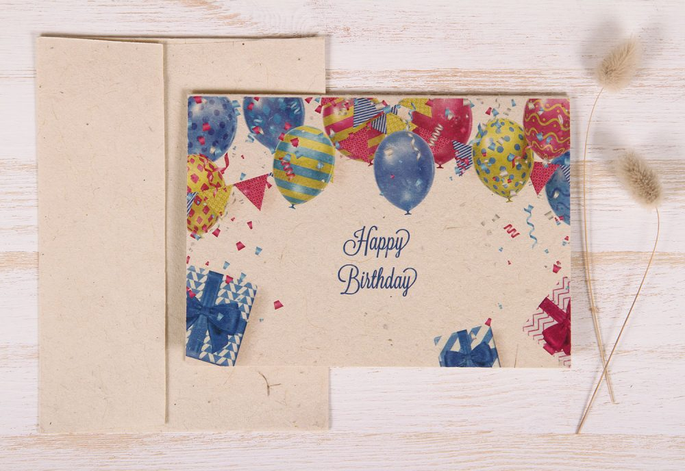 Plantable Greeting Card - Birthday -Balloons & Banner - FrontPlantable Greeting Card - Birthday -Balloons & Banner - Front