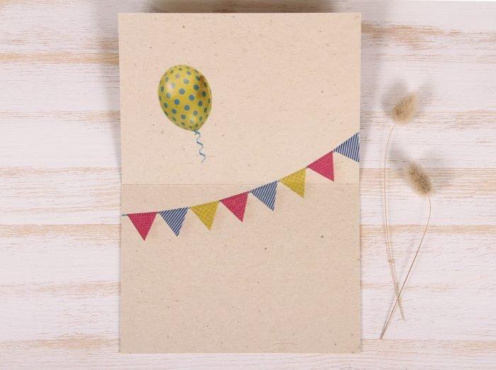 Plantable Greeting Card - Birthday -Balloons & Banner - Inside