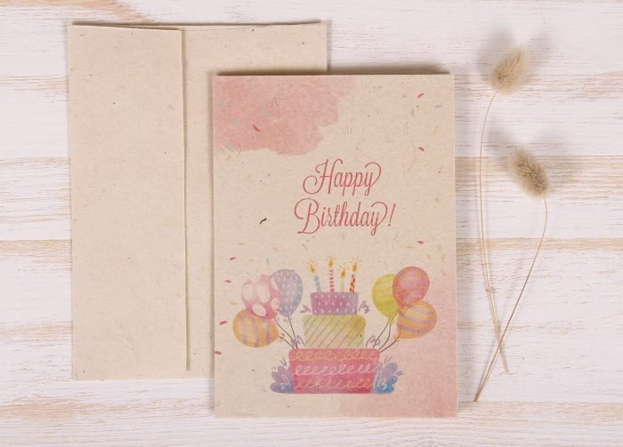 Plantable Greeting Card - Birthday - Cake & Balloons - Front