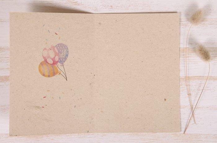 Plantable Greeting Card - Birthday - Cake & Balloons - Inside