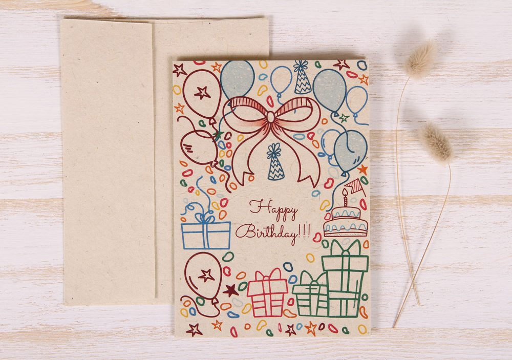 Plantable Greeting Card - Birthday - Doodles - Front