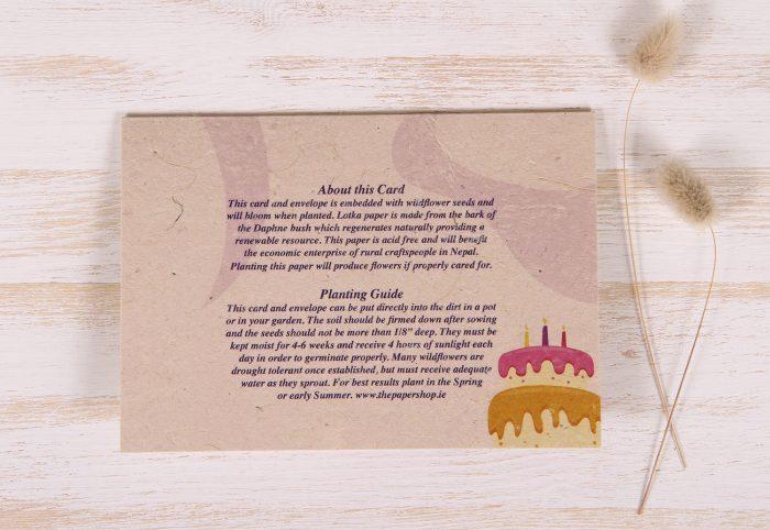 Plantable Greeting Card - Birthday - Festive - Back