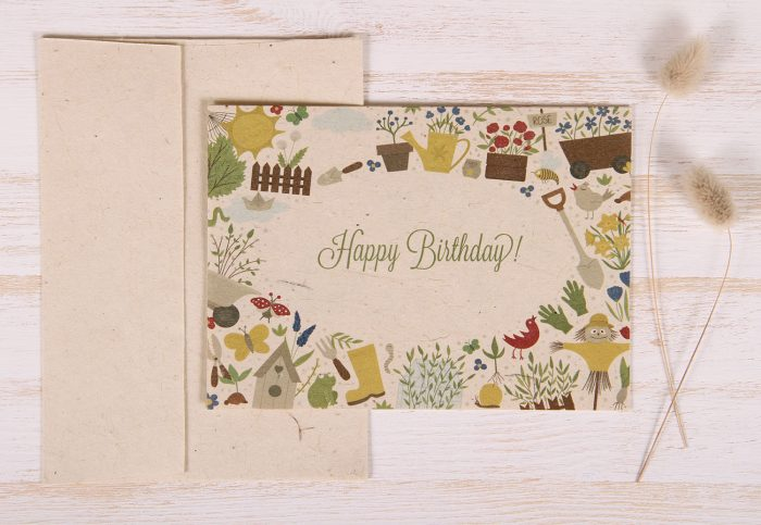 Plantable Greeting Card - Birthday - Garden Border - Front
