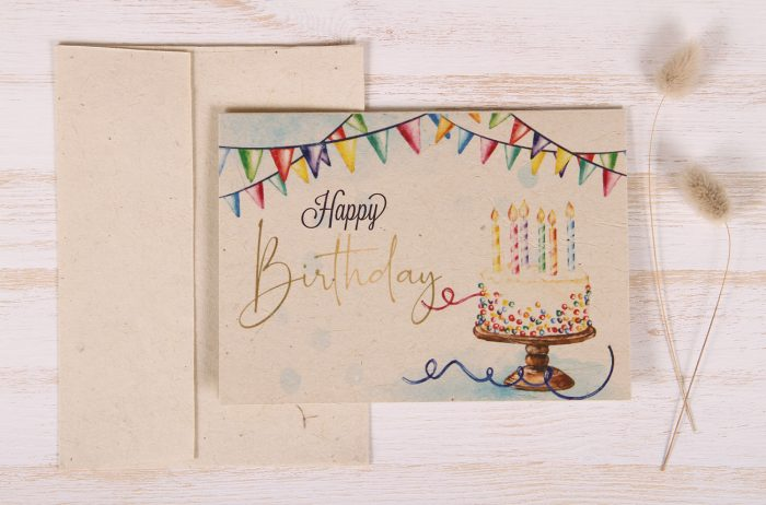 Plantable Greeting Card - Birthday - Gold - Front