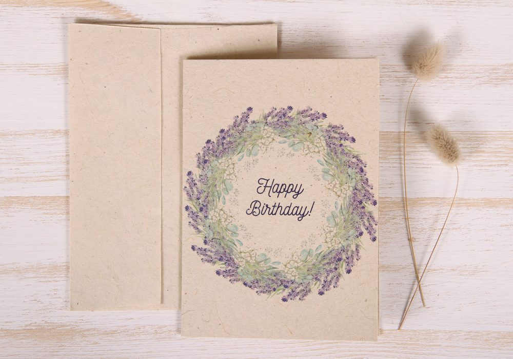 Plantable Greeting Card - Birthday - Lavender Wreath - Front