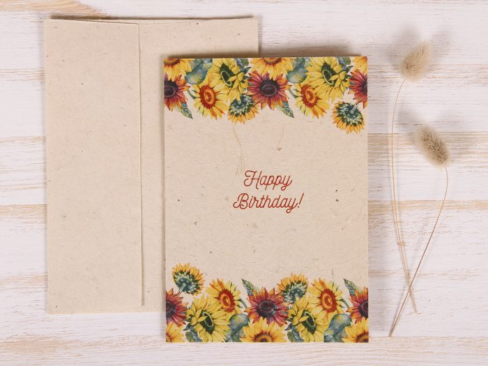 Plantable Greeting Card - Birthday - Sunflowers - Front