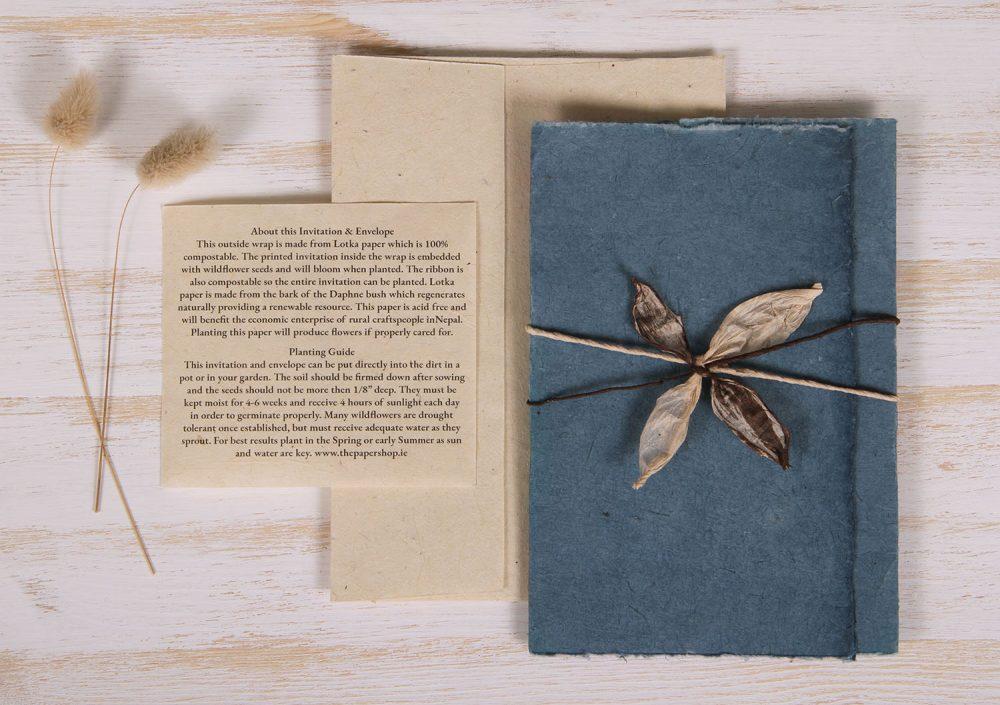 Plantable Invitation - Lotka Wrap - Leaf Tie - Blue