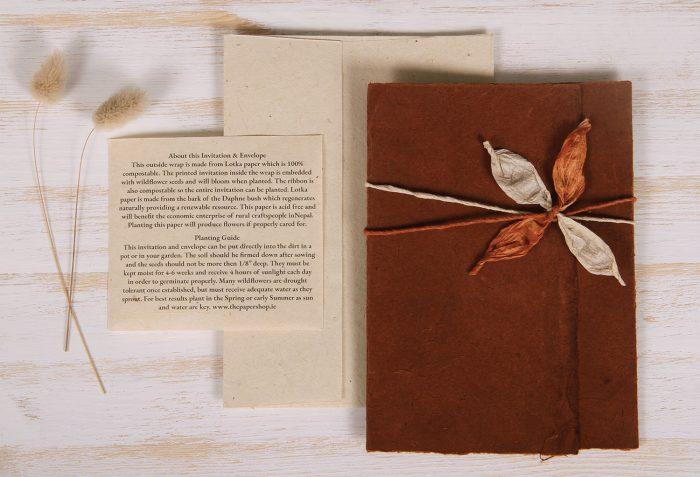 Plantable Invitation - Lotka Wrap - Leaf Tie - Russet