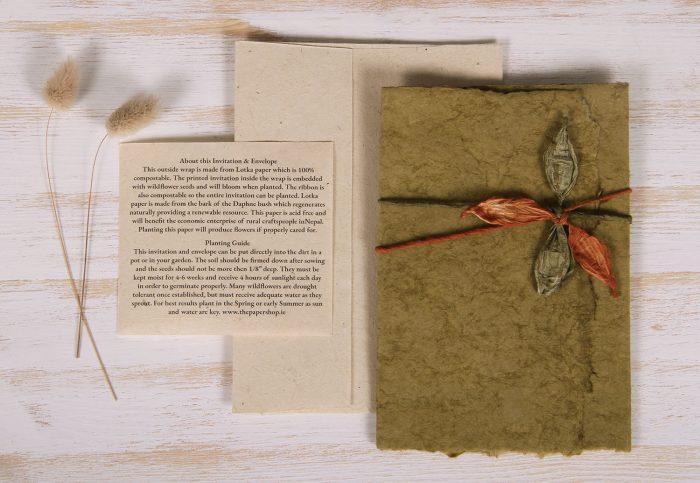 Plantable Invitation - Lotka Wrap - Leaf Tie - Sage