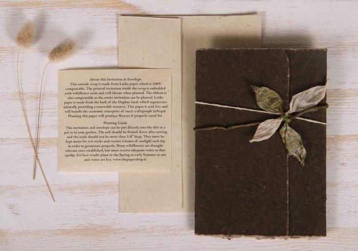 Plantable Invitation - Lotka Wrap - Leaf Tie - Umber