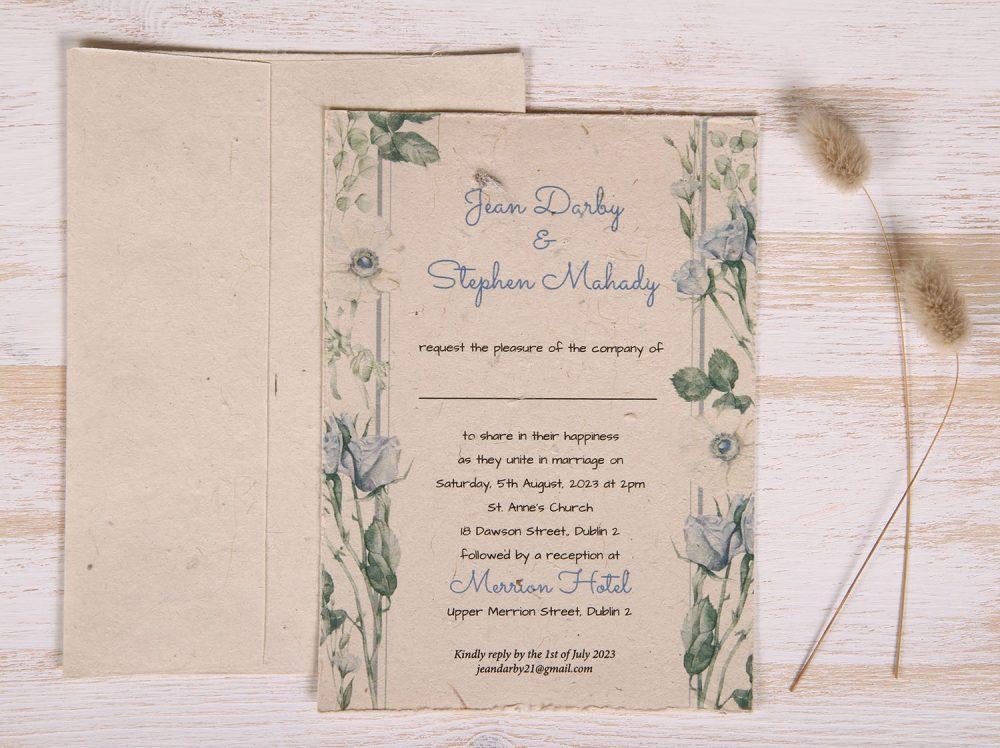 Plantable 5 x 7 Wedding Invitation - Blue Rose (front)