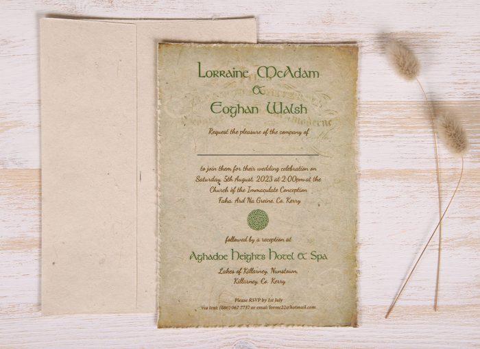 Plantable 5 x 7 Wedding Invitation - Celtic (front)