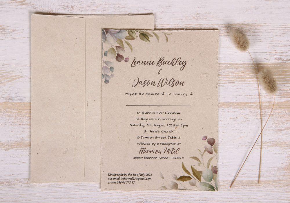 Plantable 5 x 7 Wedding Invitation - Colourful Eucalyptus (front)