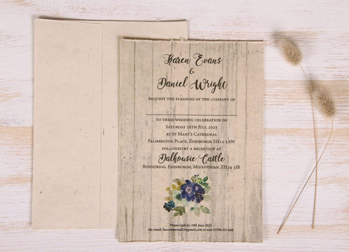 Plantable 5 x 7 Wedding Invitation - Country Bloom (front)
