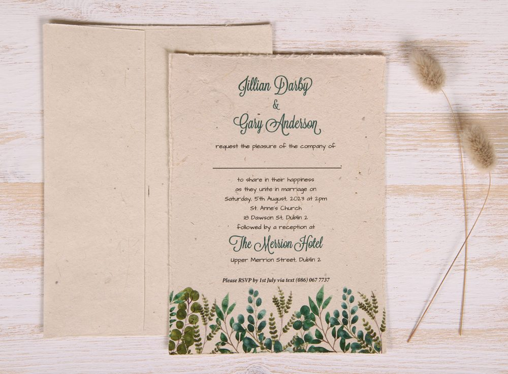 Plantable 5 x 7 Wedding Invitation - Eucalyptus & Fern (front)