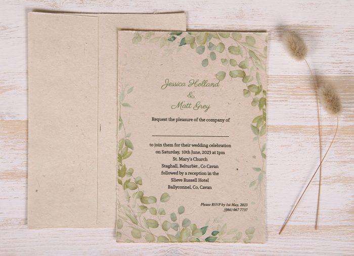 Plantable 5 x 7 Wedding Invitation - Eucalyptus (front)