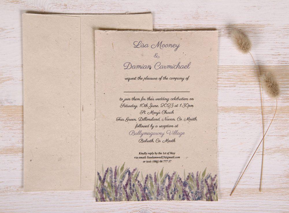 Plantable 5 x 7 Wedding Invitation - Field of Lavender (front)
