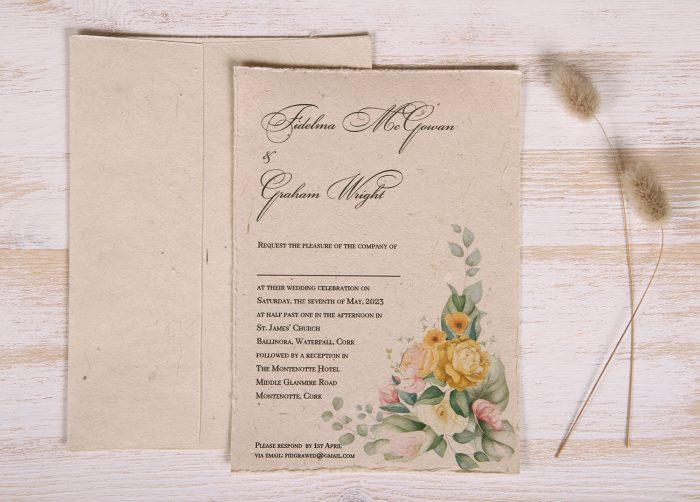 Plantable 5 x 7 Wedding Invitation - Gold Rose (front)