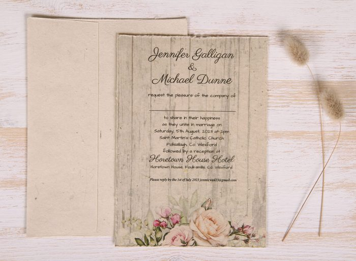 Plantable 5 x 7 Wedding Invitation - Rustic Rose (front)