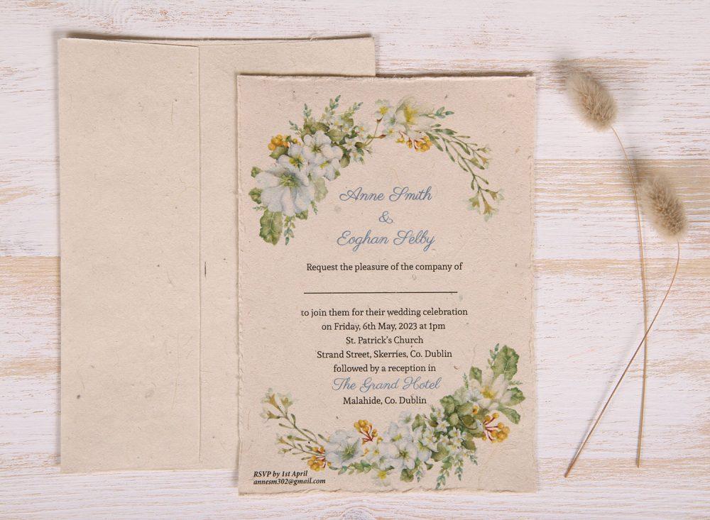 Plantable 5 x 7 Wedding Invitation - Spring Wreath (front)